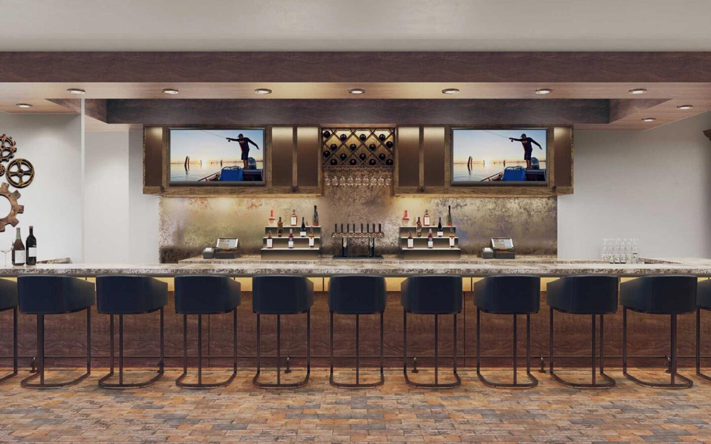 indoor bar with bar stools and two television screens