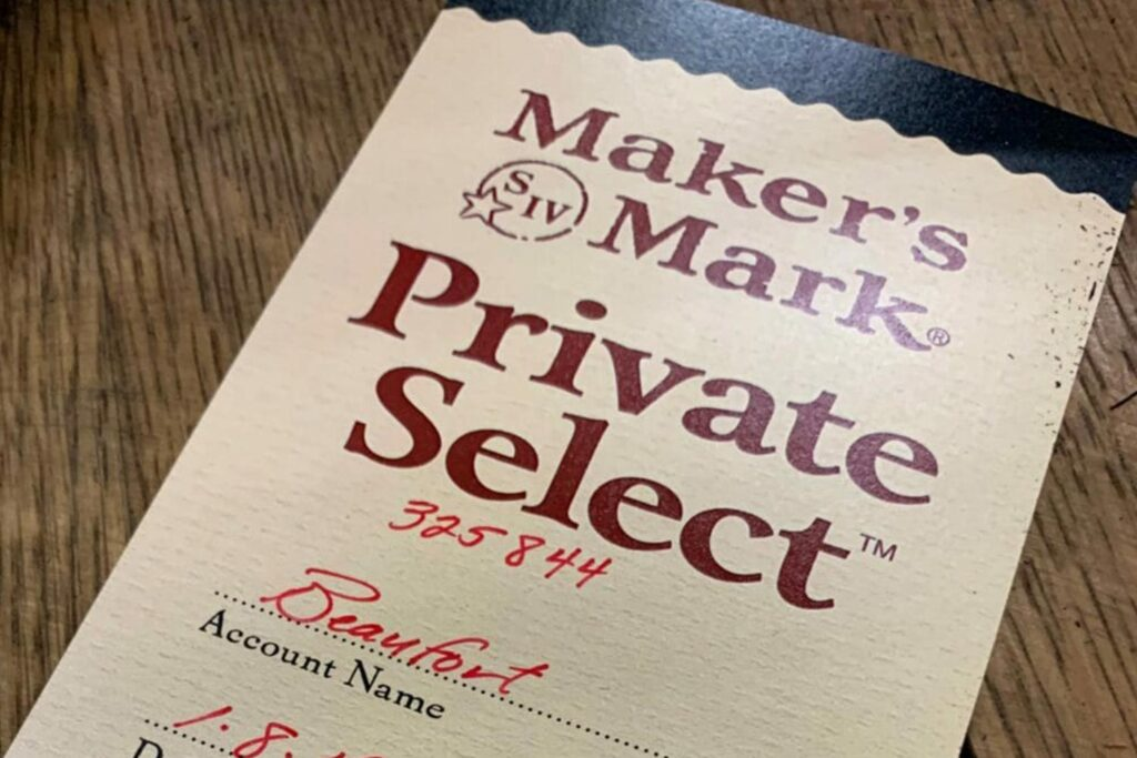 closeup of a Maker's Mark Private Select whisky label for Beaufort Hotel