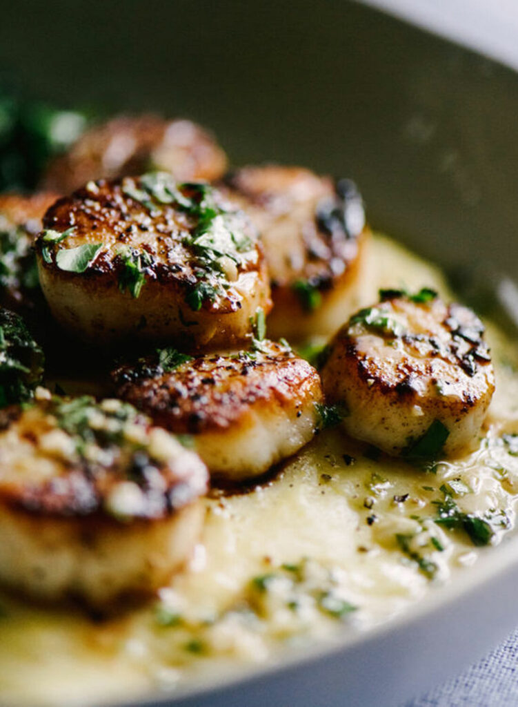 closeup of a cooked scallop dish
