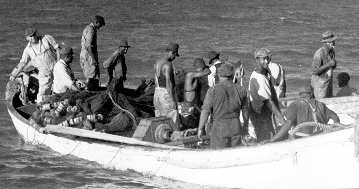 historical black and white photo of men on small boats pulling in a net full of fish